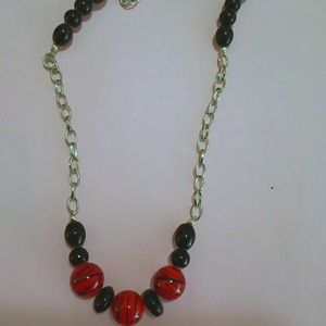 BLACK & RED  Beads with Silver Chain 18 In…